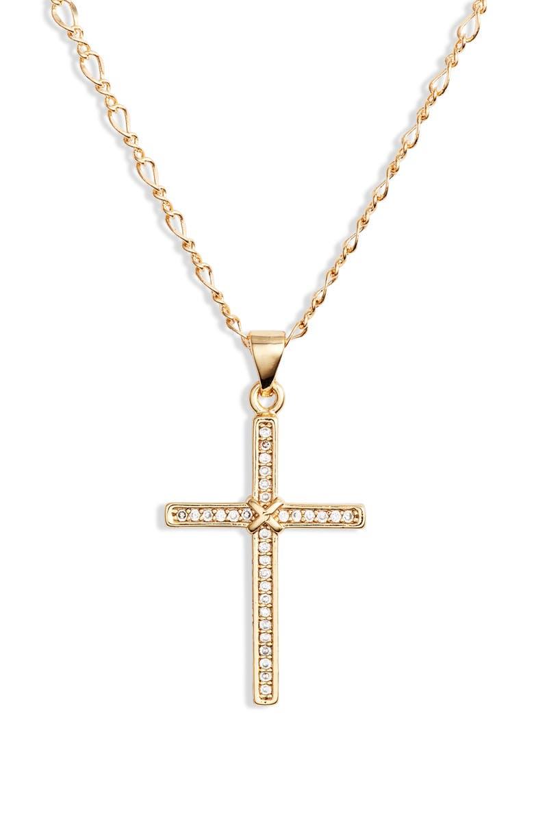 BRACHA Risen Cross Pendant Necklace, Main, color, 710