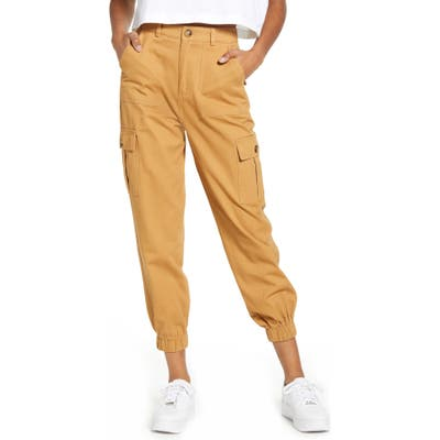 Know One Cares Cotton Cargo Jogger Pants, Yellow