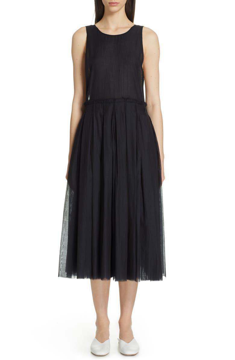 SARA LANZI Apron Midi Dress, Main, color, 001