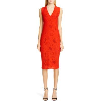 Fuzzi Lace V-Neck Midi Dress, Red