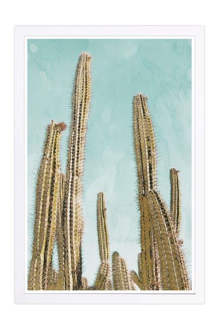 Image of Wynwood Studio Gold Cactus Gold Nature & Landscape Framed Wall Art
