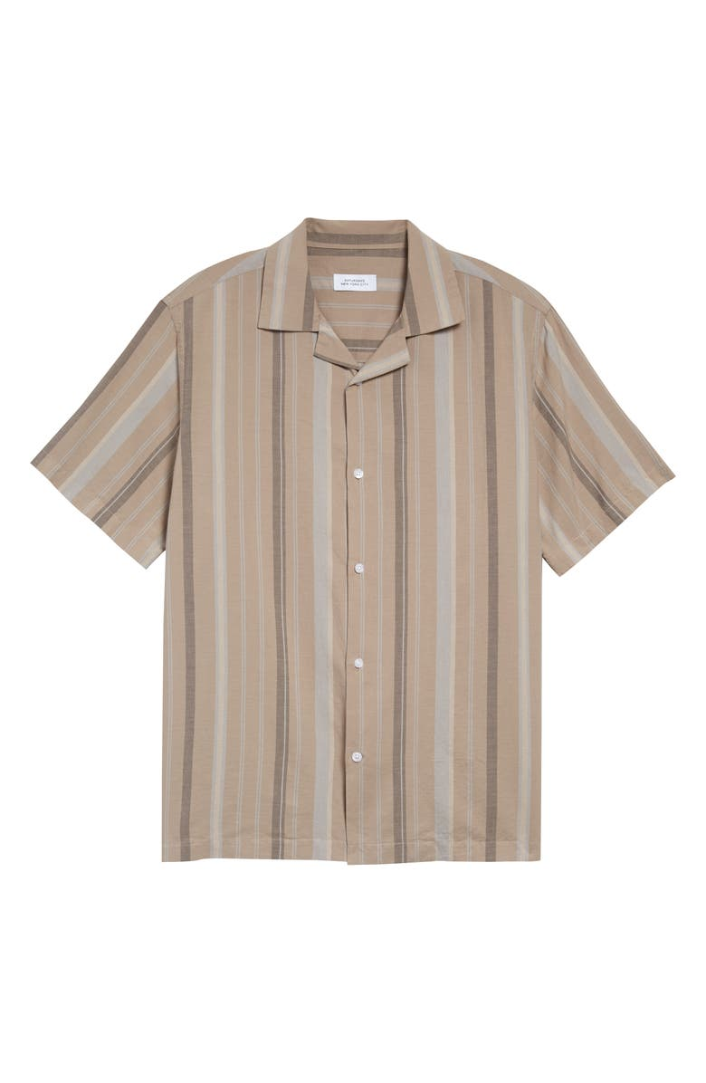 SATURDAYS NYC Canty Bay Stripe Short Sleeve Button-Up Camp Shirt, Main, color, BRITISH KHAKI
