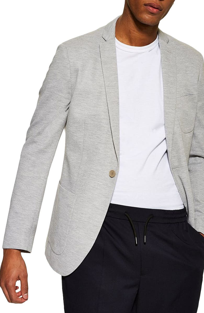 TOPMAN Classic Fit Jersey Blazer, Main, color, GREY