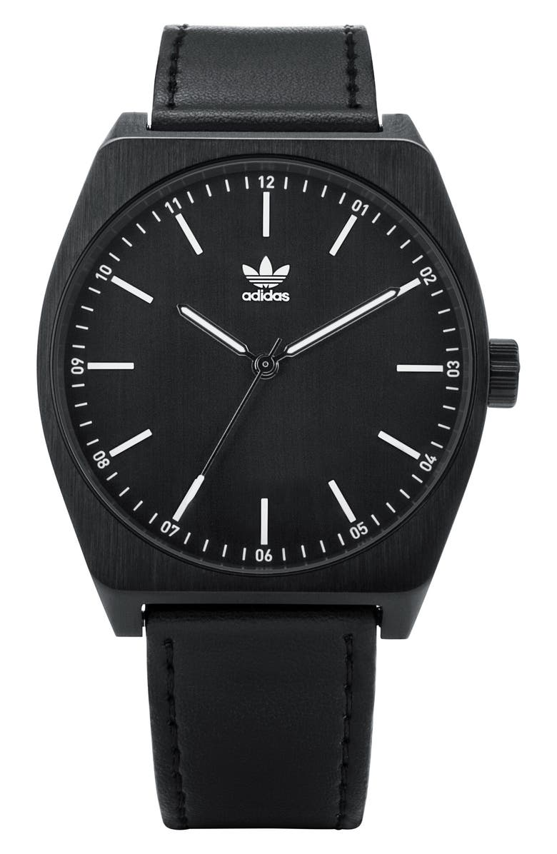 ADIDAS Process Leather Strap Watch, 38mm, Main, color, 001