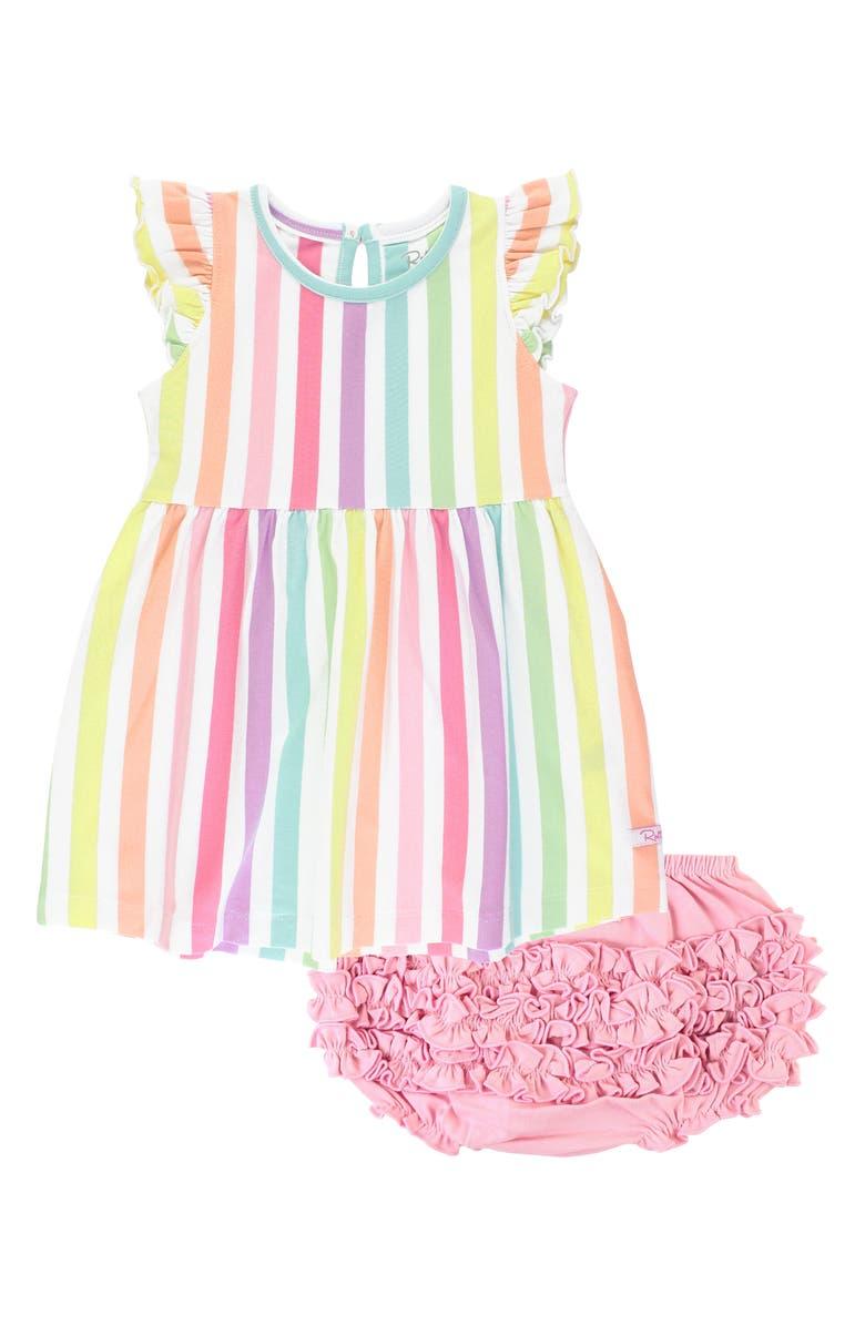 RUFFLEBUTTS Rainbow Stripe Flutter Sleeve Dress, Main, color, WHITE