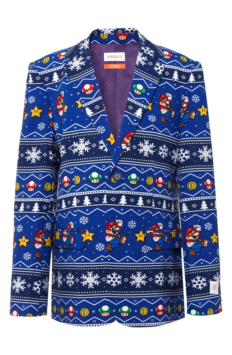 OPPOSUITS Merry Mario Two-Piece Suit with Tie, Main, color, BLUE
