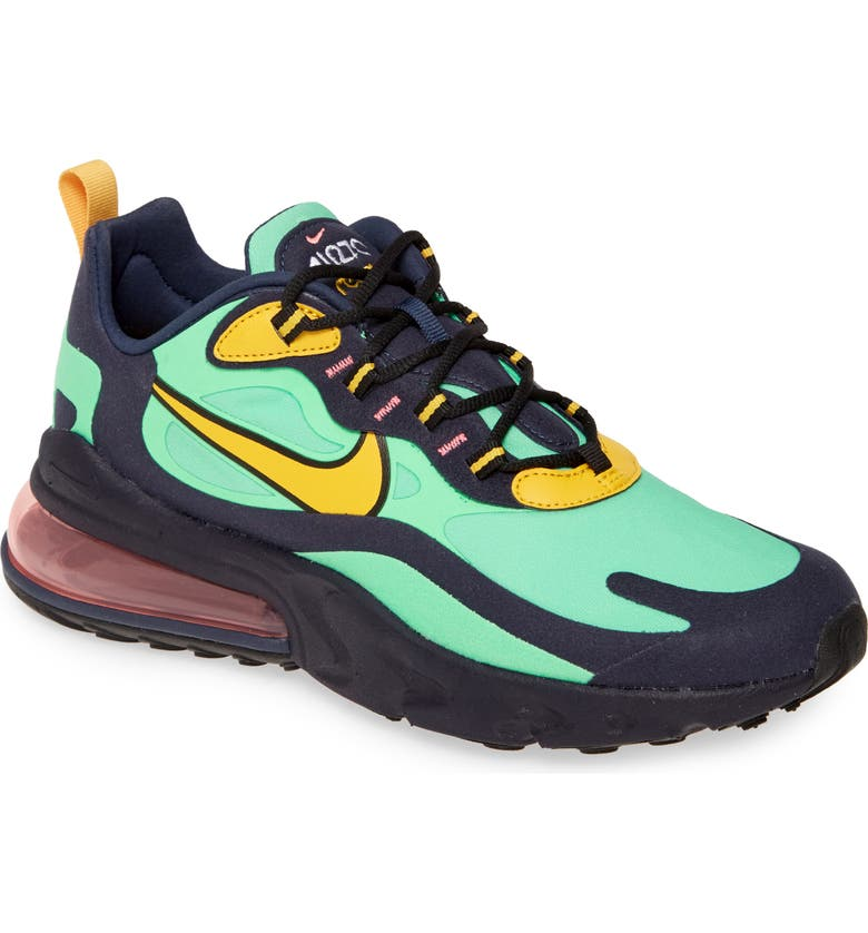 NIKE Air Max 270 React Sneaker, Main, color, ELECTRO GREEN/ YELLOW