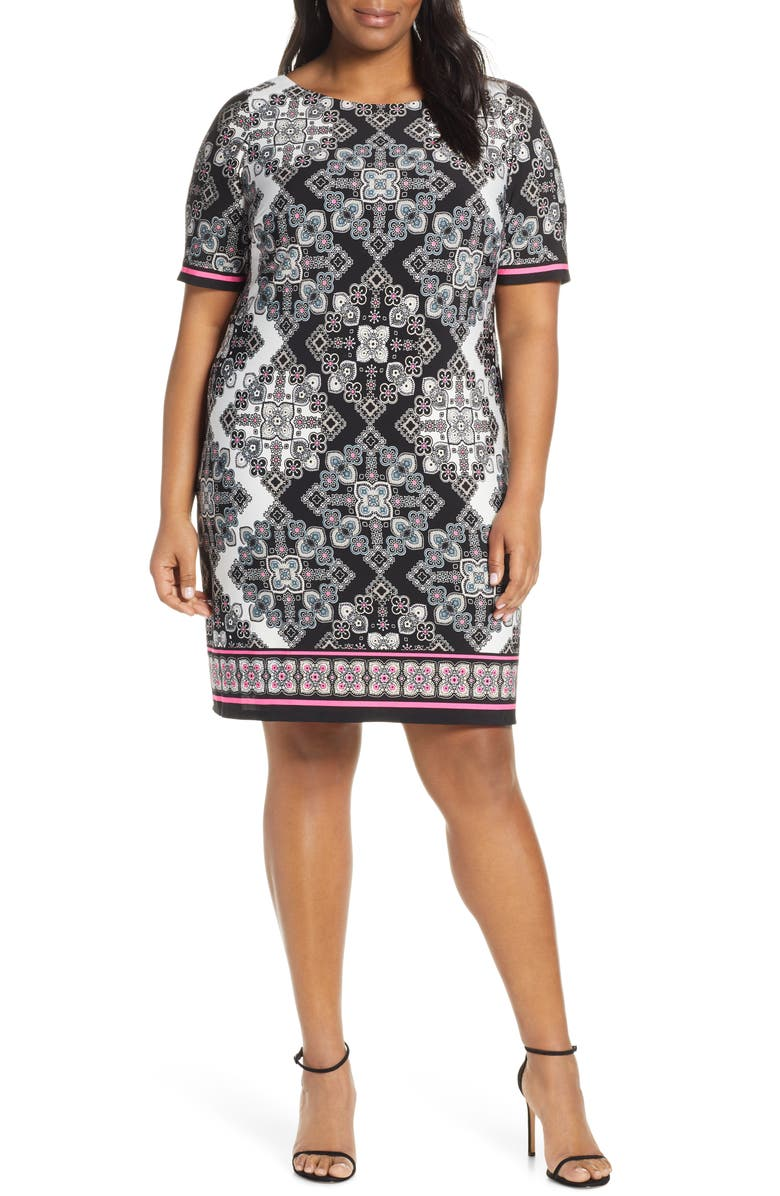 ELIZA J Print Elbow Sleeve Shift Dress, Main, color, 004