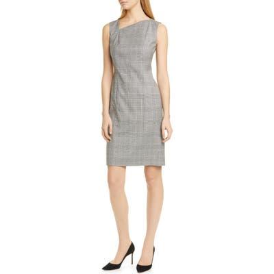 Boss Delray Modern Check Sheath Dress, Pink