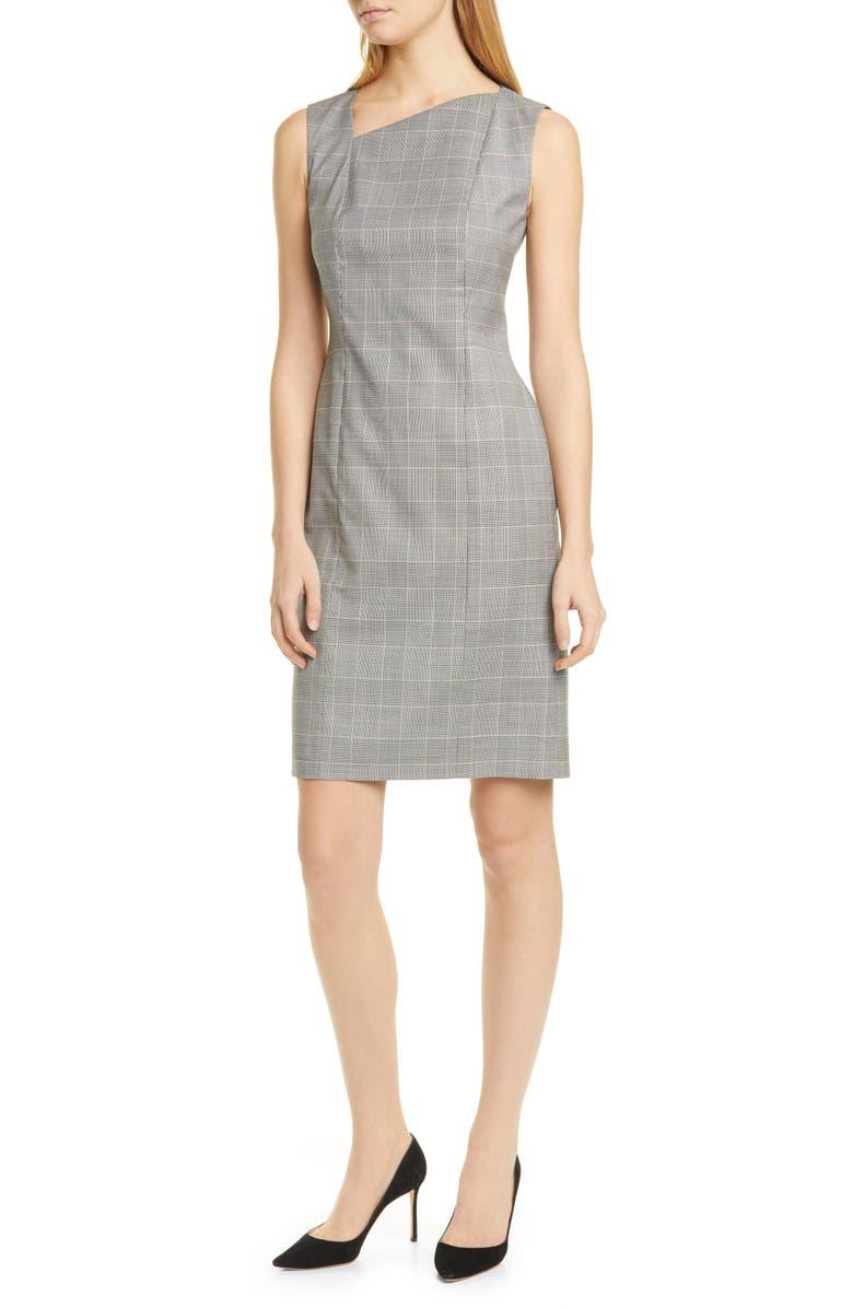 BOSS Delray Modern Check Sheath Dress, Main, color, PETAL FANTASY