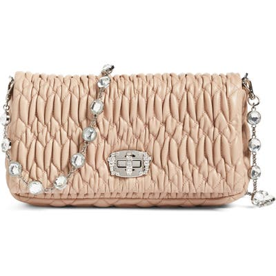 Miu Miu Small Crystal Embellished Nappa Shoulder Bag -