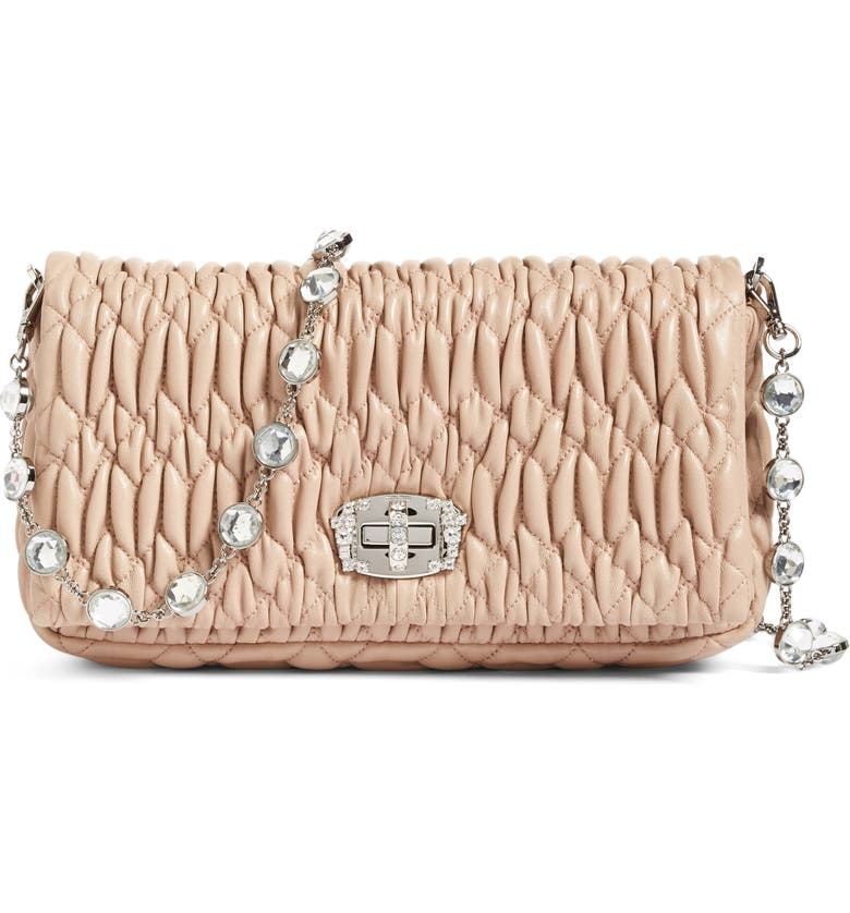 MIU MIU Small Crystal Embellished Nappa Shoulder Bag, Main, color, CAMMEO