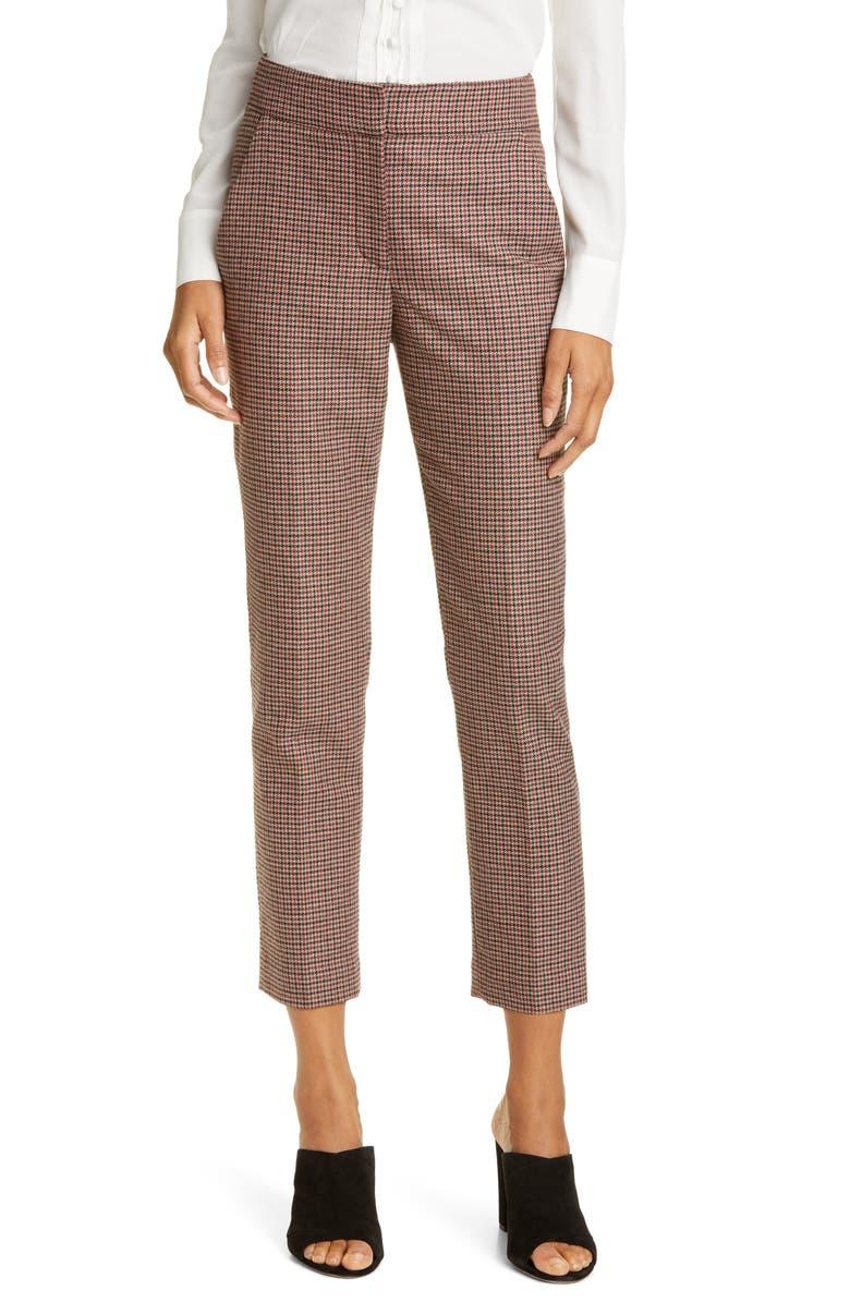 VERONICA BEARD Gemini Check Crop Pants, Main, color, RED MULTI