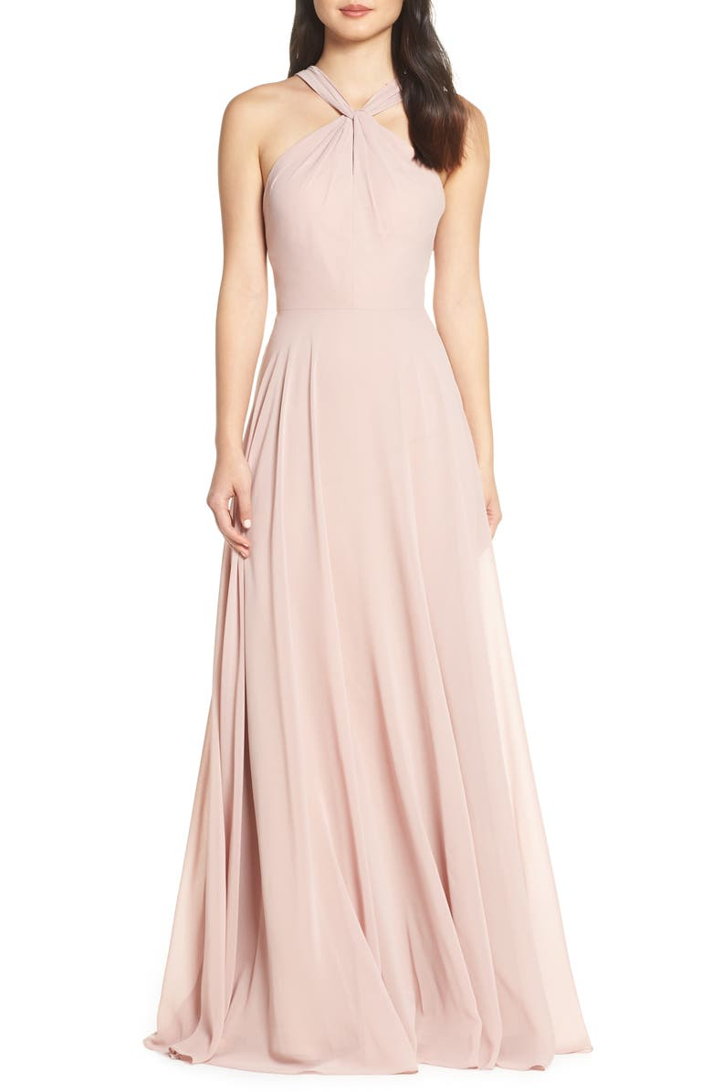 JENNY YOO Halle Halter Evening Dress, Main, color, WHIPPED APRICOT