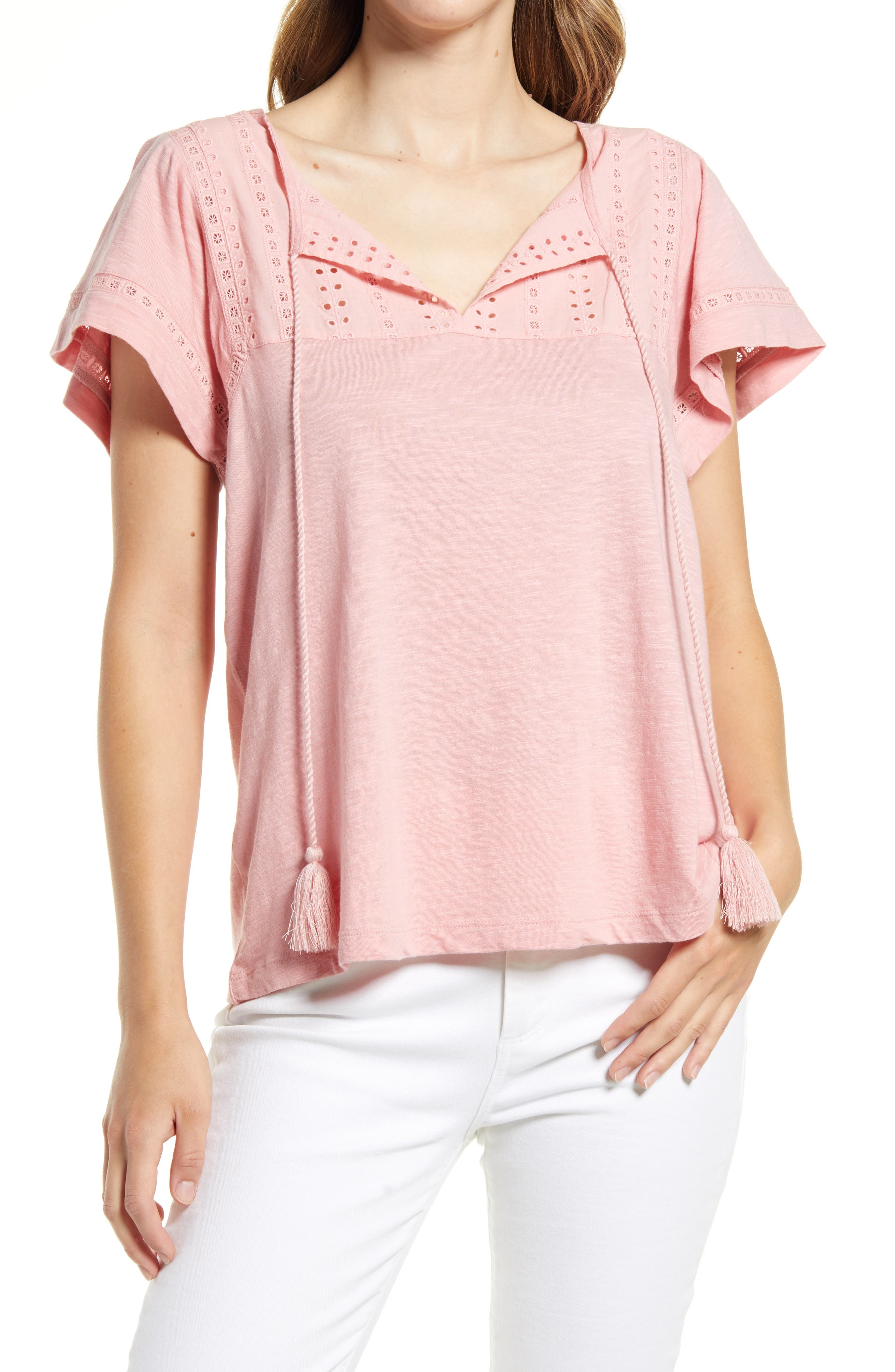 Women's Caslon Embroidered Eyelet Knit Top