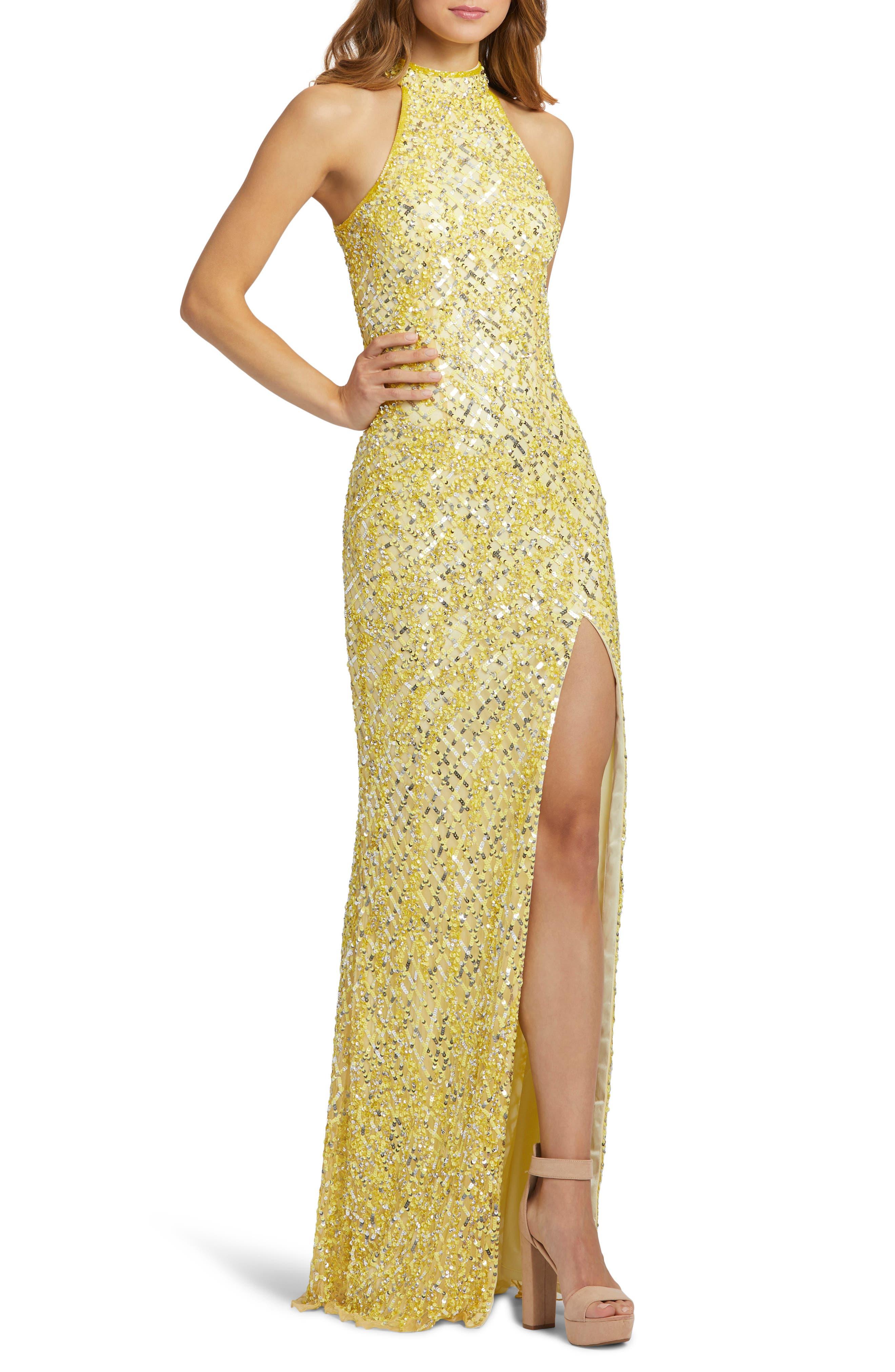 70s Dresses – Disco Dress, Hippie Dress, Wrap Dress Womens MAC Duggal Embellished Halter Column Gown Size 0 - Yellow $338.00 AT vintagedancer.com