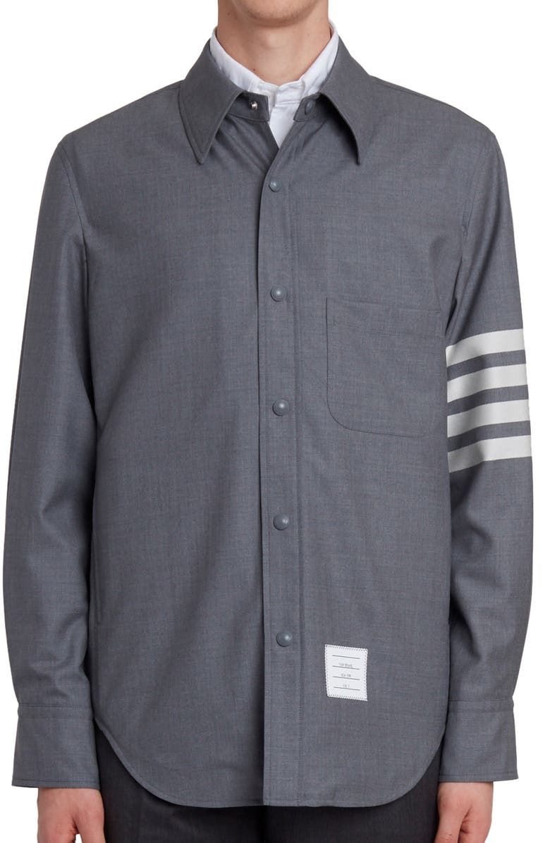 THOM BROWNE Four-Bar Slim Fit Wool Shirt, Main, color, MED GREY