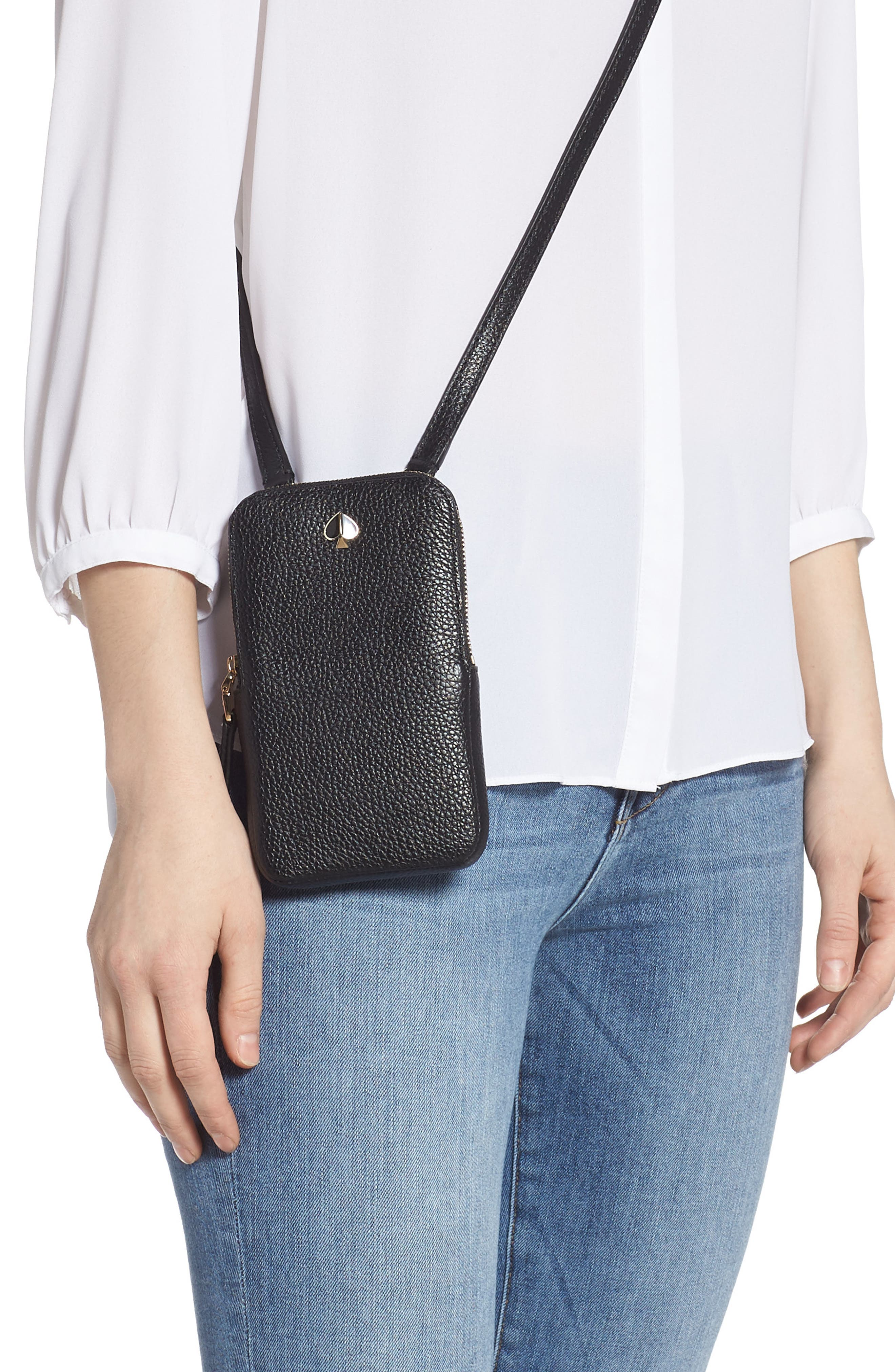 ,                             polly leather phone crossbody bag,                             Alternate thumbnail 2, color,                             BLACK