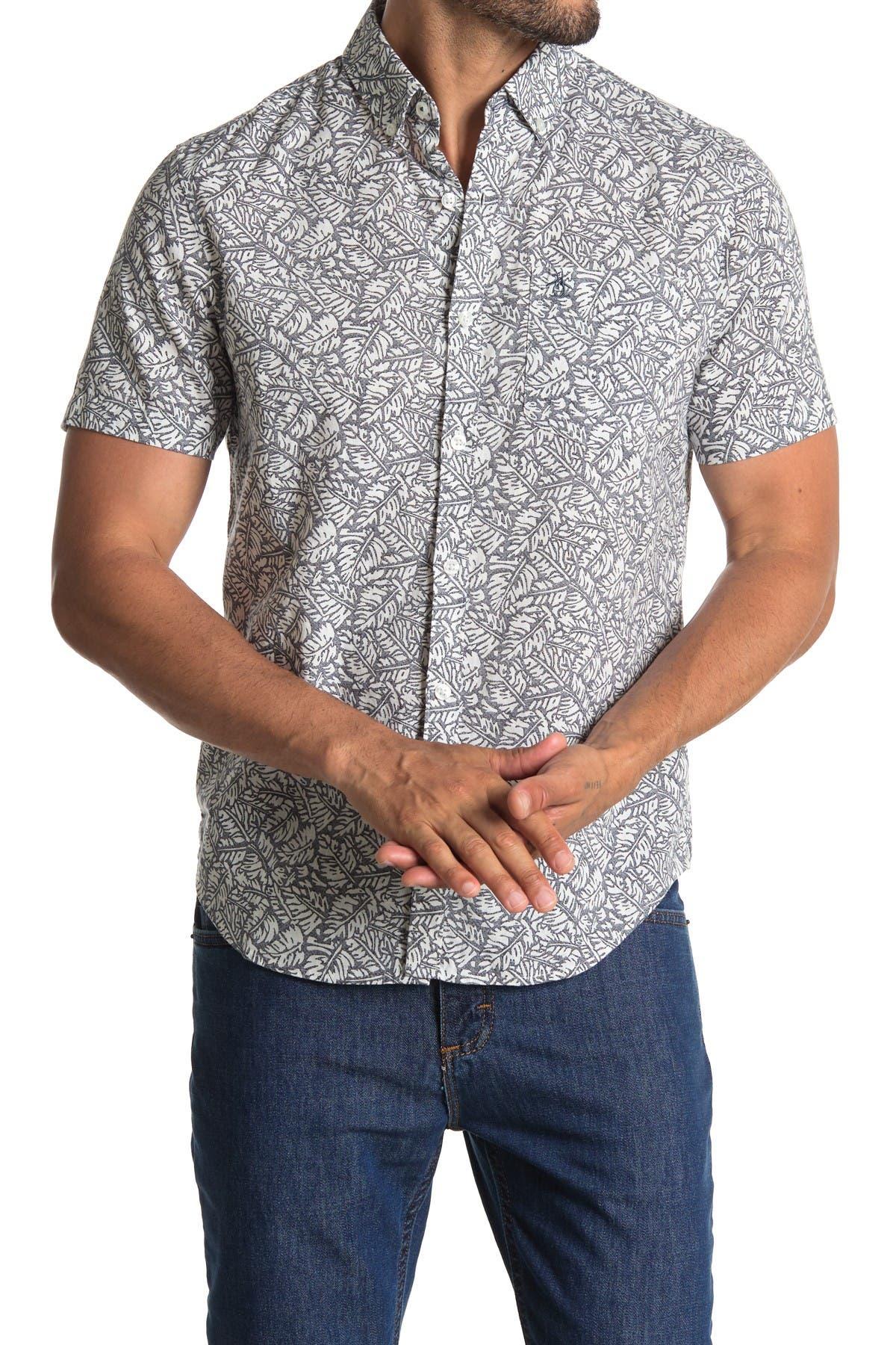 Image of Original Penguin Short Sleeve Leaf Print Slim Fit Woven Shirt