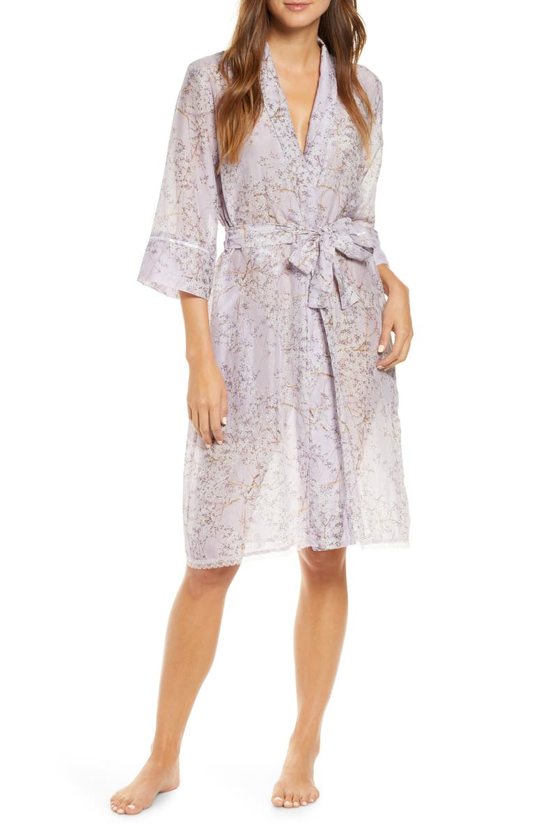 PAPINELLE Cherry Blossom Cotton & Silk Robe, Main, color, LILAC