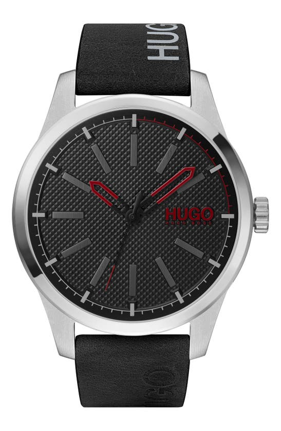 HUGO BOSS INVENT LEATHER STRAP WATCH, 46MM