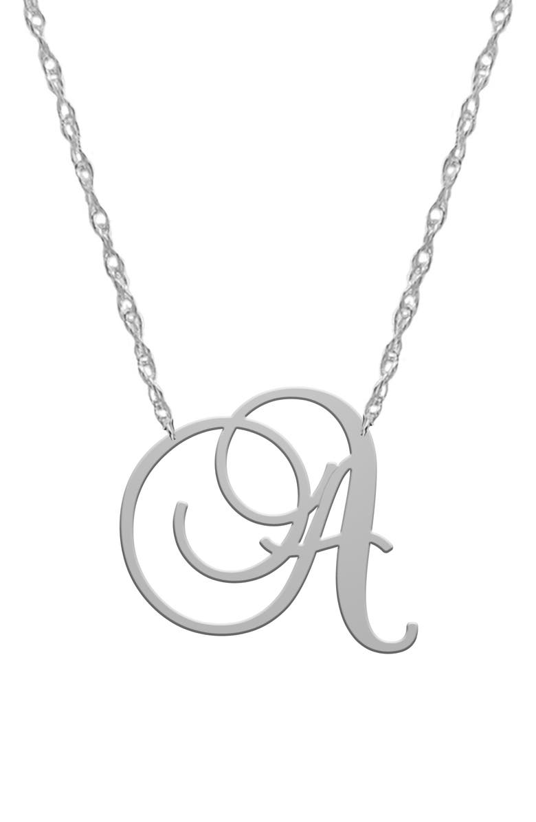 JANE BASCH DESIGNS Swirly Initial Pendant Necklace, Main, color, SILVER-A
