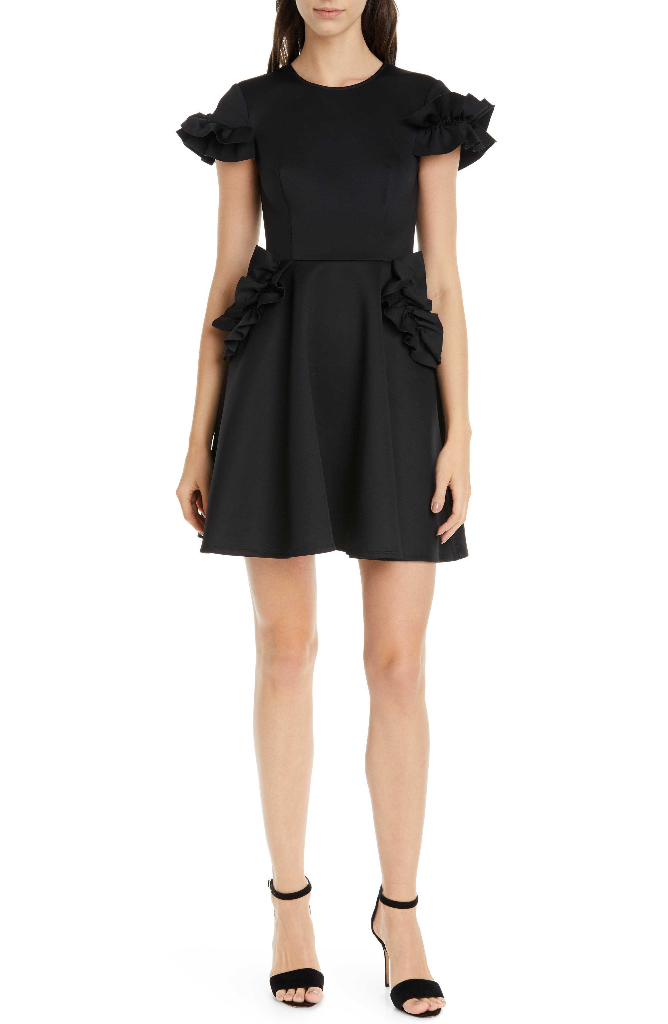Ted Baker London Luuciee Ruffle Skater Dress, Black