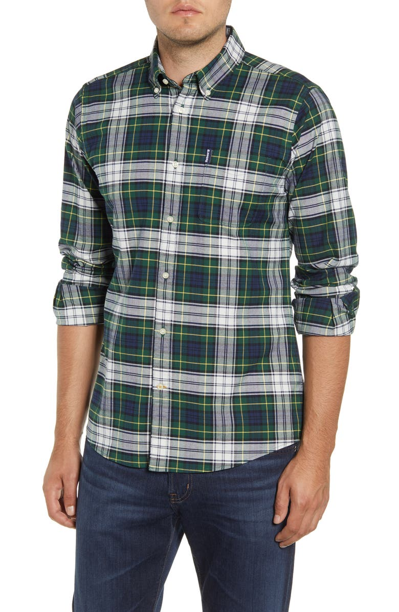 BARBOUR Highland Check 11 Tailored Fit Button-Down Shirt, Main, color, GREEN