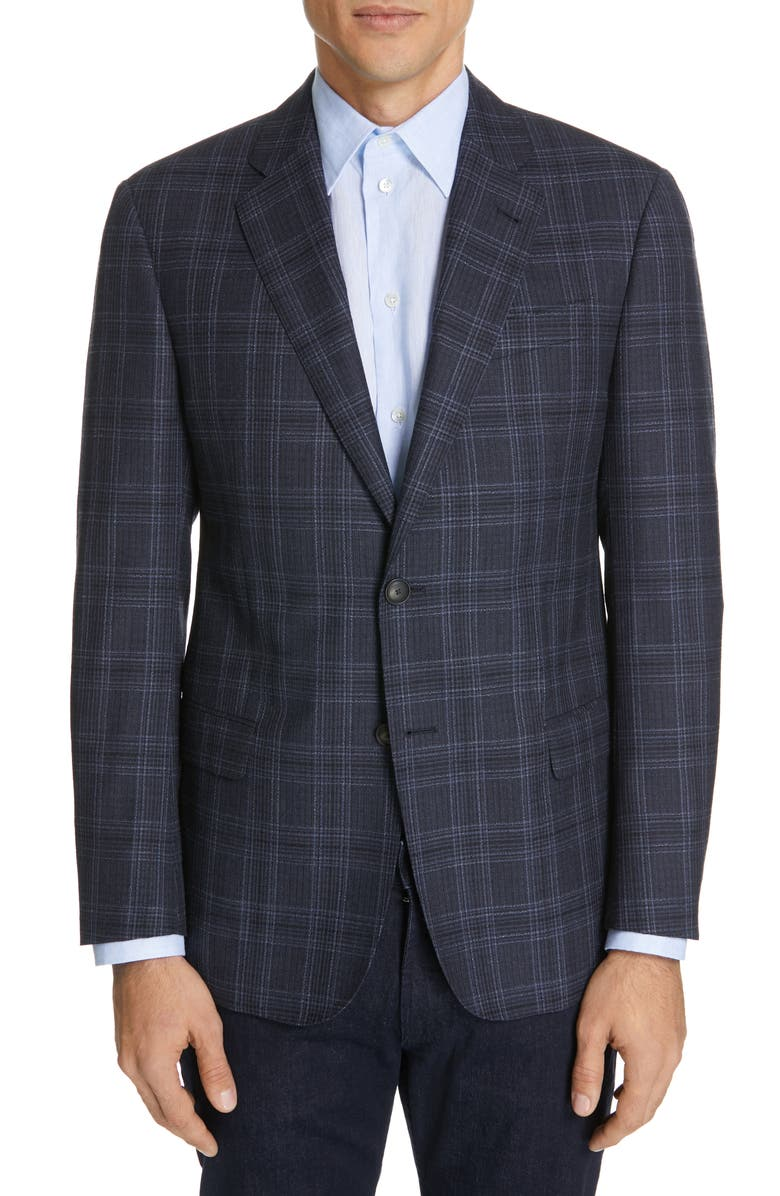 EMPORIO ARMANI Trim Fit Plaid Wool & Silk Sport Coat, Main, color, 400