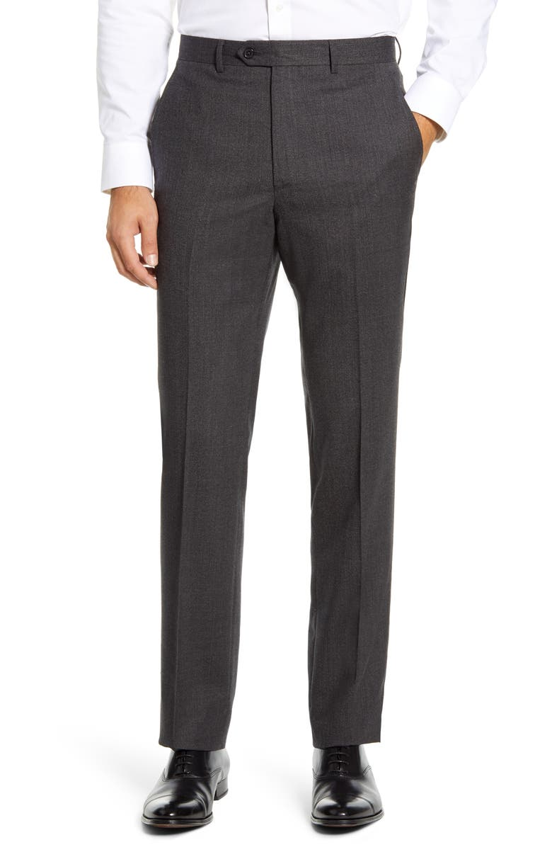 SANTORELLI Flat Front Solid Stretch Wool Dress Pants, Main, color, CHARCOAL