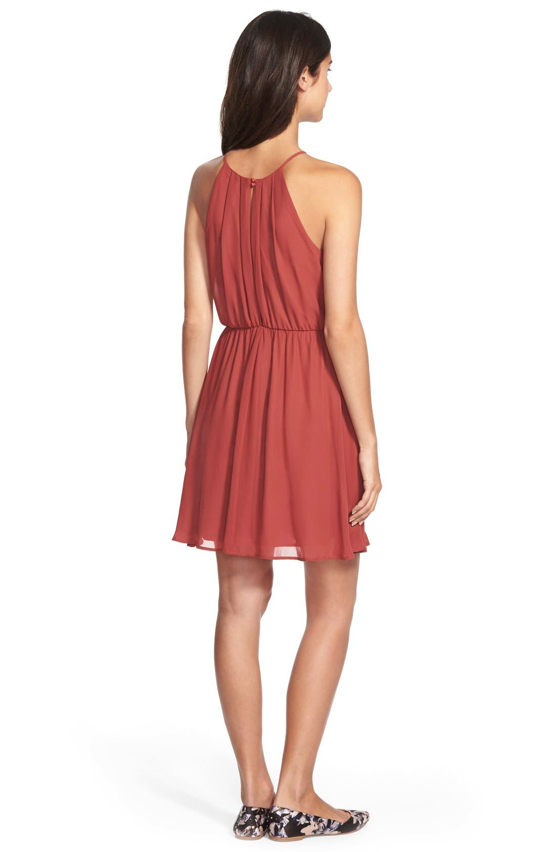 ,                             Blouson Chiffon Skater Dress,                             Alternate thumbnail 194, color,                             629