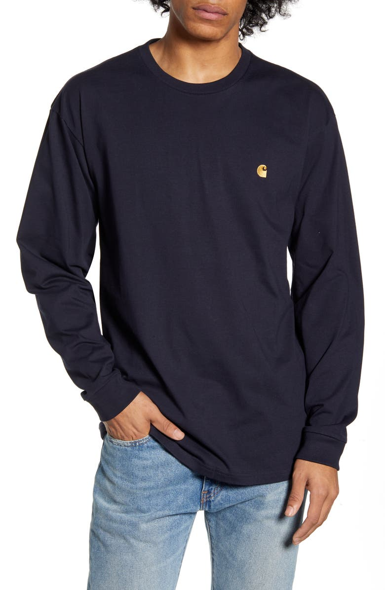 CARHARTT WORK IN PROGRESS Chase Long Sleeve T-Shirt, Main, color, DARK NAVY / GOLD