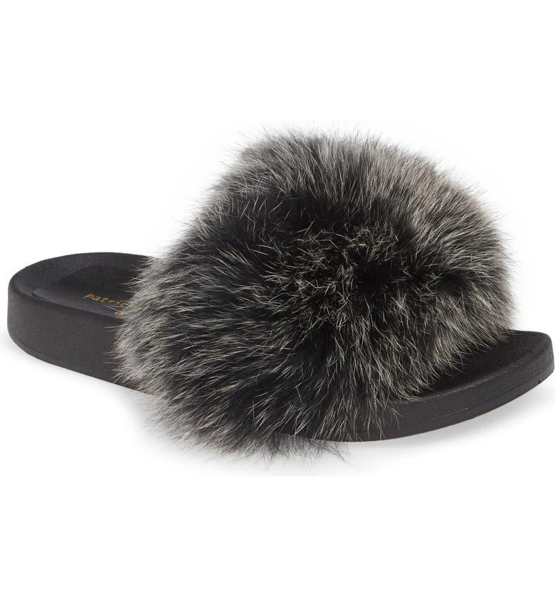 PATRICIA GREEN Foxy Genuine Fox Fur Slipper, Main, color, BLACK/ WHITE FUR