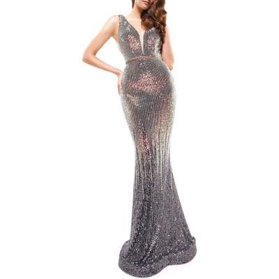 Colors Dress Sequin Stripe Plunge Neck Mermaid Gown, Grey