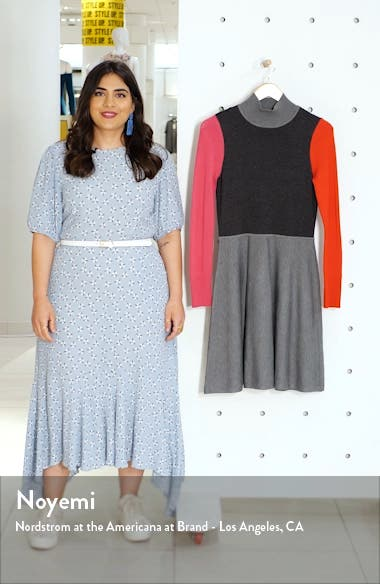 Colorblock Long Sleeve Fit & Flare Sweater Dress, sales video thumbnail