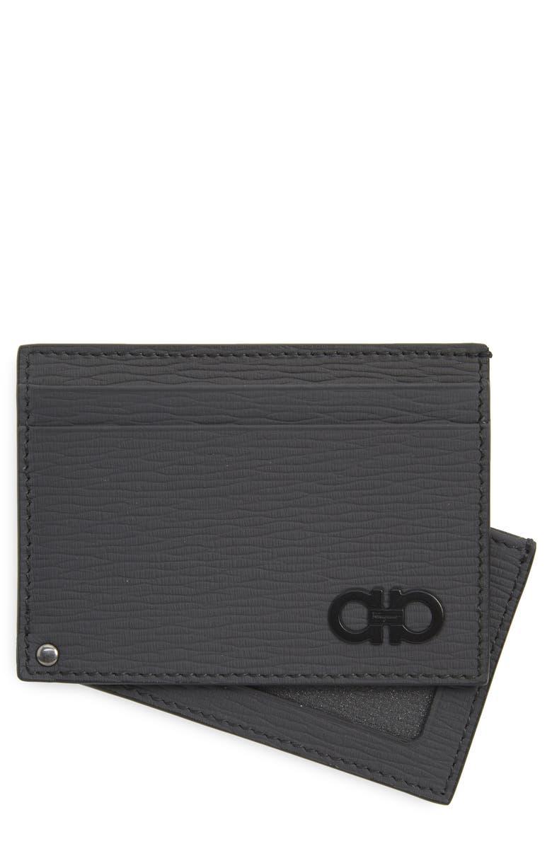 SALVATORE FERRAGAMO Leather Card Case, Main, color, LEAD GREY