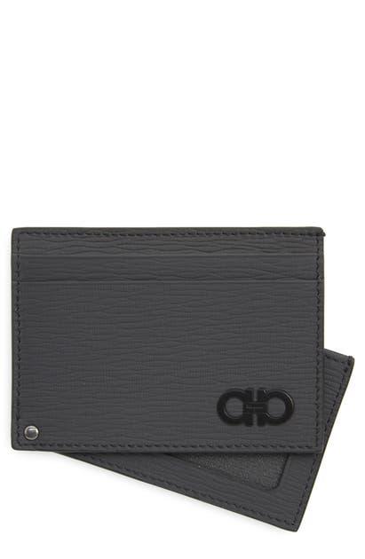 Salvatore Ferragamo Leather Card Case - Grey In Lead Grey