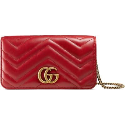 Gucci Marmont 2.0 Leather Shoulder Bag - Red