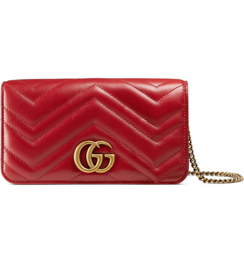 GUCCI Marmont 2.0 Leather Shoulder Bag, Main, color, HIBISCUS RED