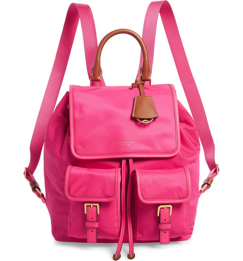 TORY BURCH Perry Nylon Backpack, Main, color, BRIGHT PINK