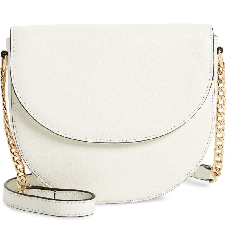 NORDSTROM Ava Leather Flap Crossbody Bag, Main, color, 100