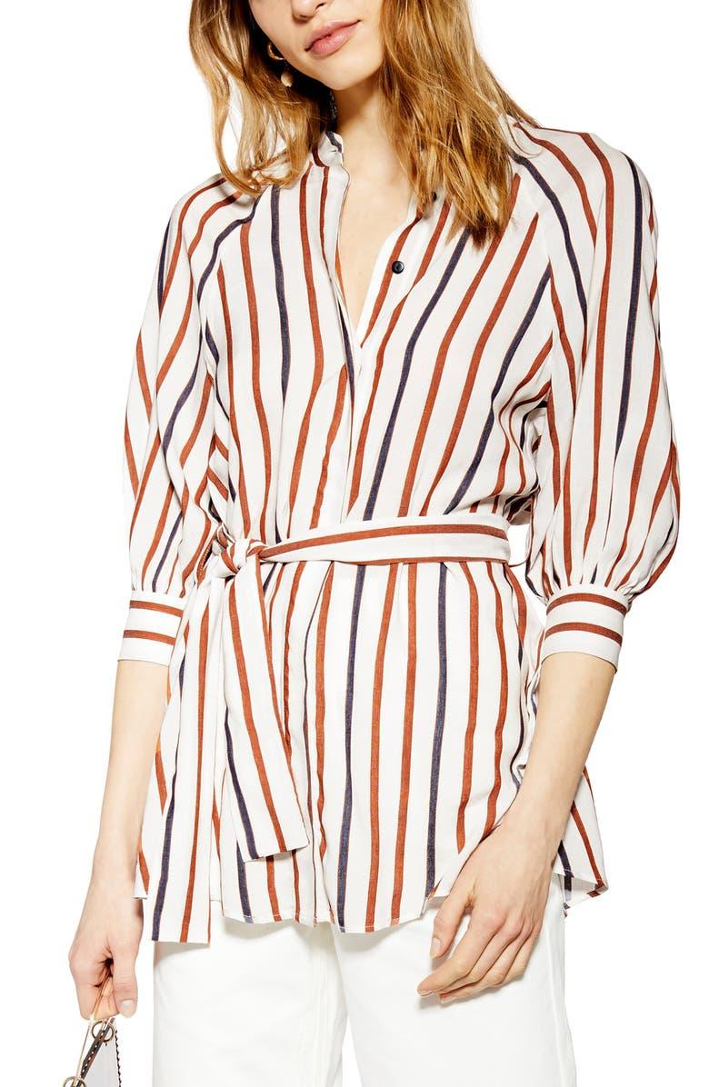 TOPSHOP Stripe Tie Waist Shirt, Main, color, 100