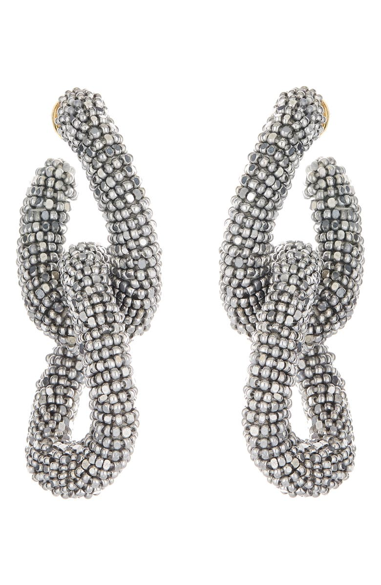 OSCAR DE LA RENTA Beading Links Drop Earrings, Main, color, SILVER