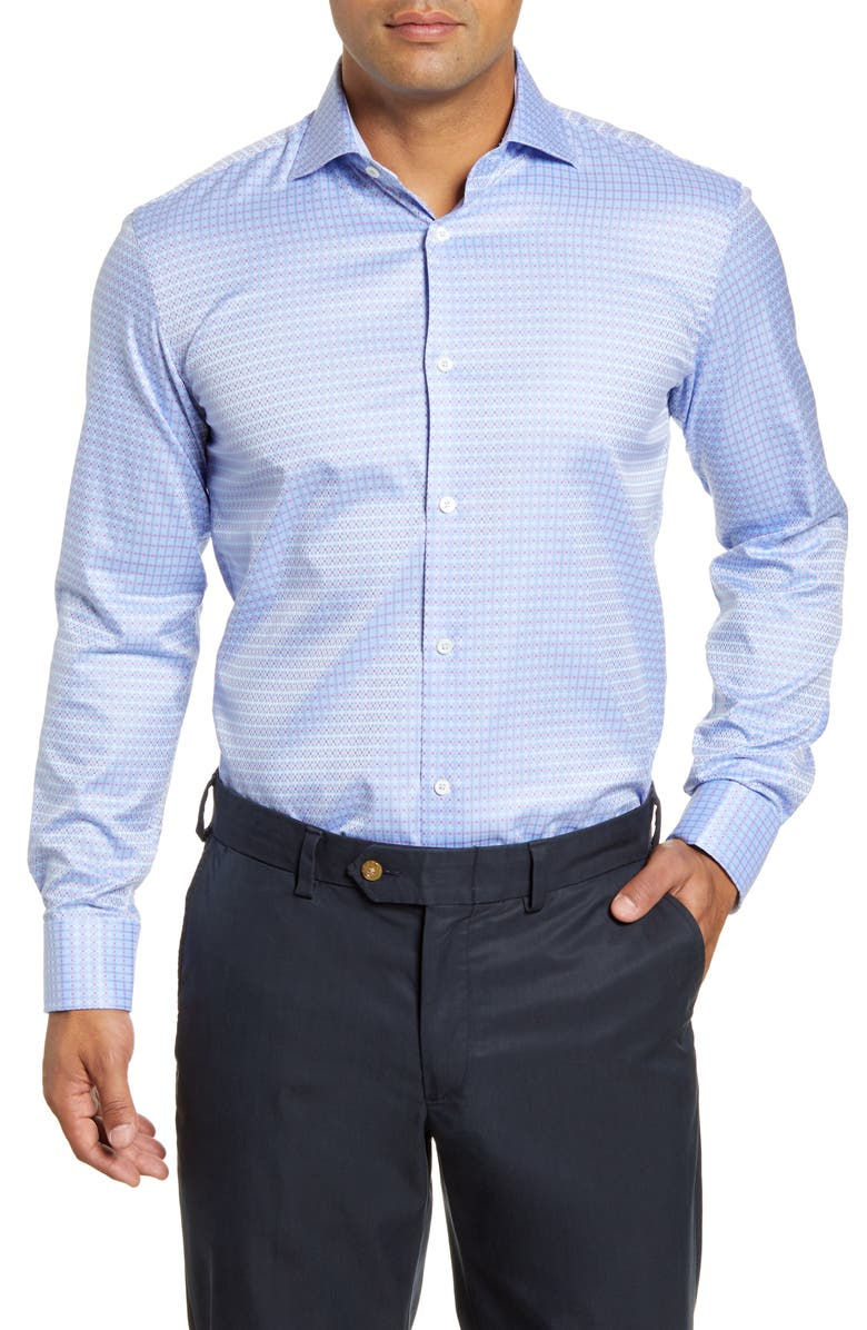 BUGATCHI Trim Fit Plaid Dress Shirt, Main, color, CLASSIC BLUE