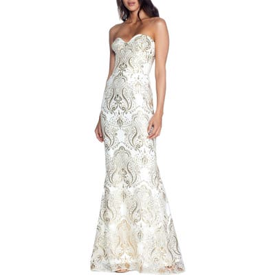 Dress The Population Nicolette Sequin Strapless Trumpet Gown, Ivory