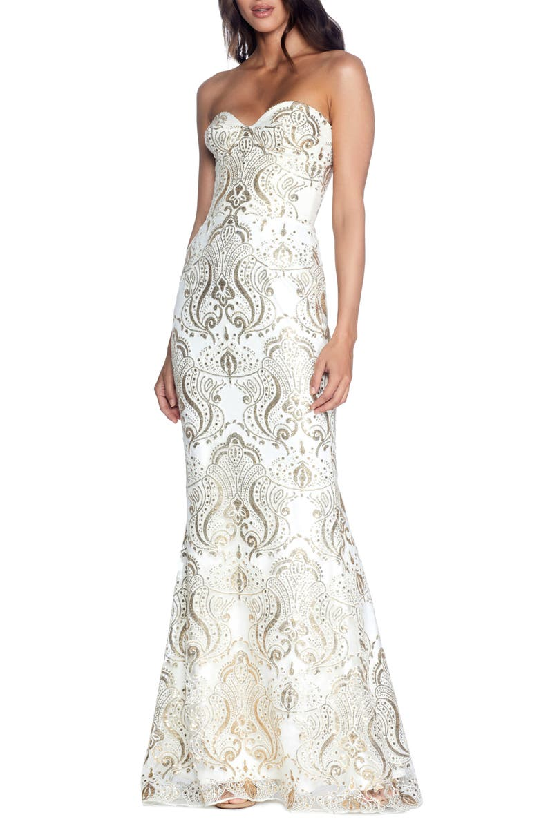 DRESS THE POPULATION Nicolette Sequin Strapless Trumpet Gown, Main, color, IVORY-GOLD