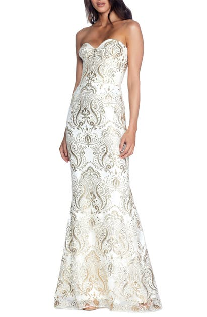 Dress The Population Tops NICOLETTE SEQUIN STRAPLESS TRUMPET GOWN