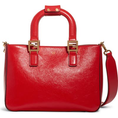 Fendi Small Glacier Top Handle Leather Tote - Red
