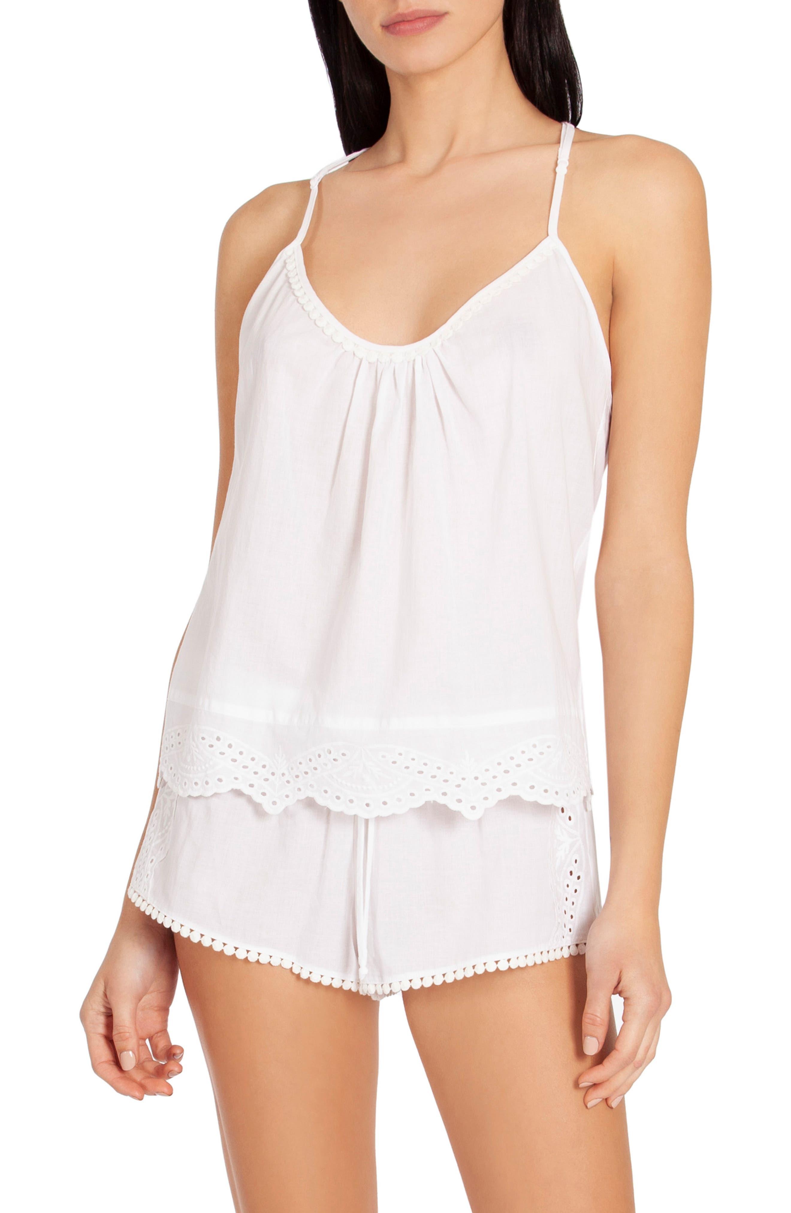 Eyelet Short Pajamas, Main, color, WHITE