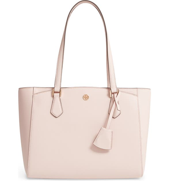 Tory Burch Small Robinson Saffiano Leather Tote - Pink In Pale Apricot/Royal Navy
